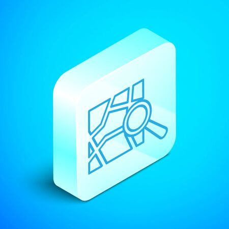 Isometric line Folded map with location marker icon isolated on blue background. Silver square button. Vector Illustration Zdjęcie Seryjne - 133854343