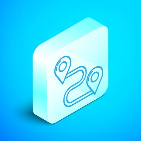 Isometric line Route location icon isolated on blue background. Map pointer sign. Concept of path or road. GPS navigator. Silver square button. Vector Illustration Stock Illustratie
