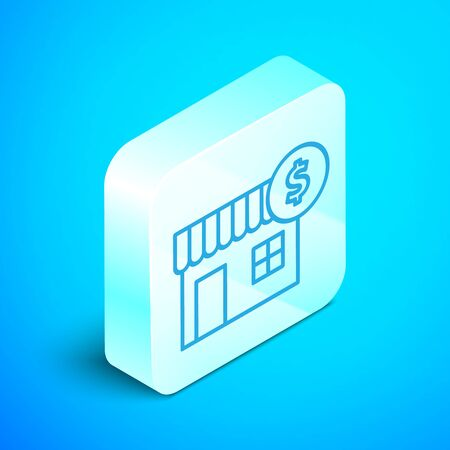 Isometric line House with dollar symbol icon isolated on blue background. Home and money. Real estate concept. Silver square button. Vector Illustration