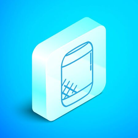 Isometric line Voice assistant icon isolated on blue background. Voice control user interface smart speaker. Silver square button. Vector Illustration