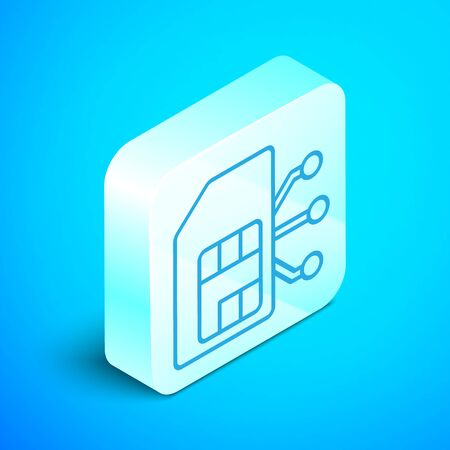 Isometric line Sim card icon isolated on blue background. Mobile cellular phone sim card chip. Mobile telecommunications technology symbol. Silver square button. Vector Illustration