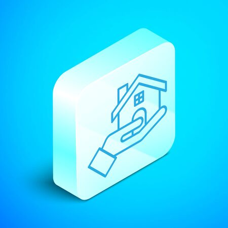 Isometric line Realtor icon isolated on blue background. Buying house. Silver square button. Vector Illustration