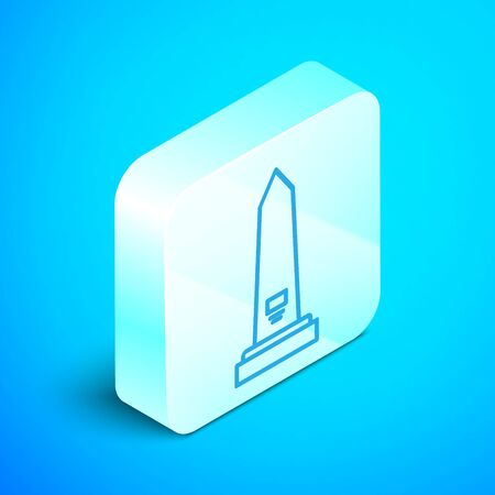 Isometric line Washington monument icon isolated on blue background. Concept of commemoration, DC landmark, patriotism. Silver square button. Vector Illustration