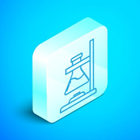 Isometric line Glass test tube flask on fire heater experiment icon isolated on blue background. Laboratory equipment. Silver square button. Vector Illustration