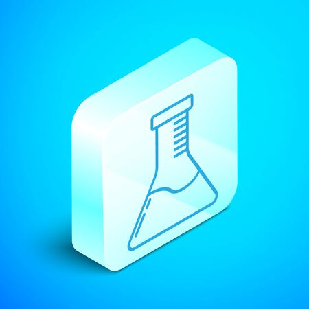 Isometric line Test tube and flask chemical laboratory test icon isolated on blue background. Laboratory glassware sign. Silver square button. Vector Illustration Ilustrace