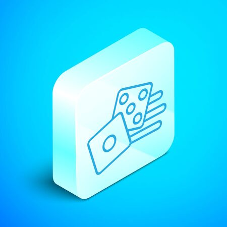 Isometric line Game dice icon isolated on blue background. Casino gambling. Silver square button. Vector Illustration
