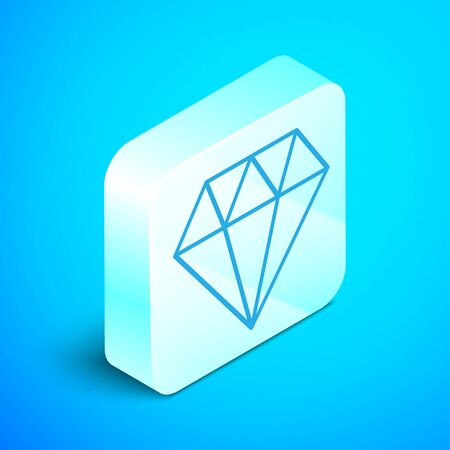 Isometric line Diamond icon isolated on blue background. Jewelry symbol. Gem stone. Silver square button. Vector Illustration