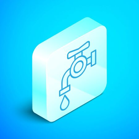 Isometric line Water tap icon isolated on blue background. Silver square button. Vector Illustration Archivio Fotografico - 133867885