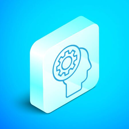 Isometric line Human head with gear inside icon isolated on blue background. Artificial intelligence. Thinking brain sign. Symbol work of brain. Silver square button. Vector Illustration