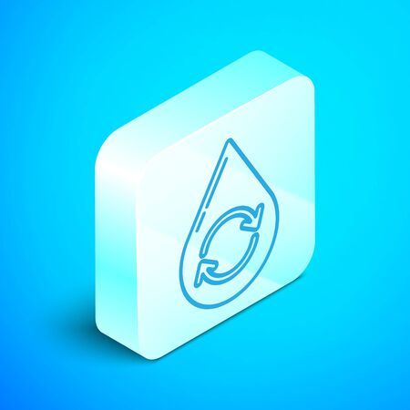 Isometric line Recycle clean aqua icon isolated on blue background. Drop of water with sign recycling. Silver square button. Vector Illustration Archivio Fotografico - 133867937