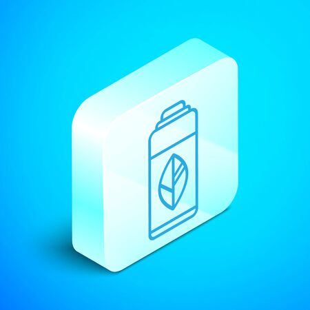 Isometric line Recycling plastic bottle icon isolated on blue background. Silver square button. Vector Illustration