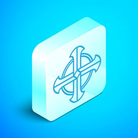 Isometric line Celtic cross icon isolated on blue background. Happy Saint Patricks day. Silver square button. Vector Illustration