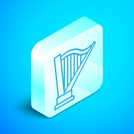 Isometric line Harp icon isolated on blue background. Classical music instrument, orhestra string acoustic element. Silver square button. Vector Illustration