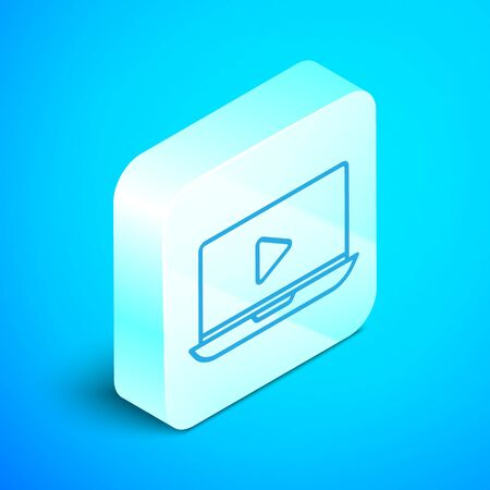 Isometric line Online play video icon isolated on blue background. Laptop and film strip with play sign. Silver square button. Vector Illustration Illustration