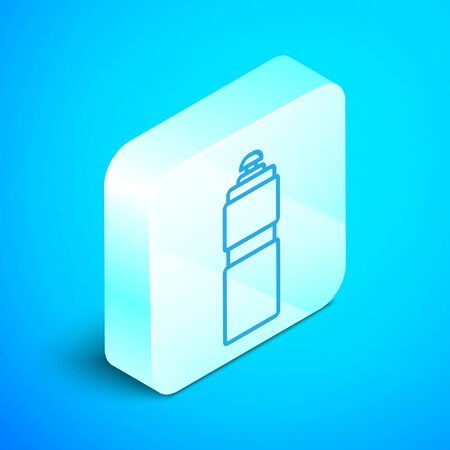 Isometric line Fitness shaker icon isolated on blue background. Sports shaker bottle with lid for water and protein cocktails. Silver square button. Vector Illustration
