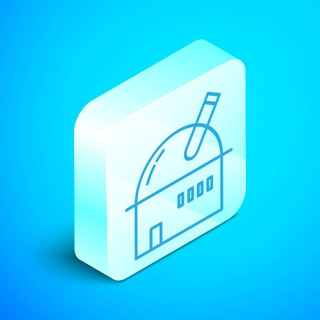 Isometric line Astronomical observatory icon isolated on blue background. Observatory with a telescope. Scientific institution. Silver square button. Vector Illustration