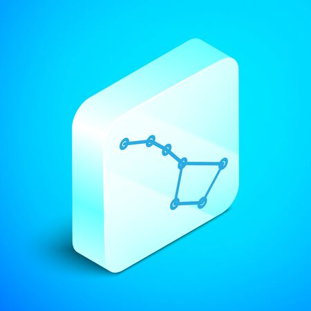 Isometric line Great Bear constellation icon isolated on blue background. Silver square button. Vector Illustration Illustration