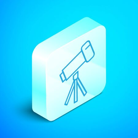 Isometric line Telescope icon isolated on blue background. Scientific tool. Education and astronomy element, spyglass and study stars. Silver square button. Vector Illustration