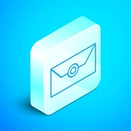 Isometric line Envelope with christmas party invitation card icon isolated on blue background. Merry Christmas and Happy New Year. Silver square button. Vector Illustration Illusztráció