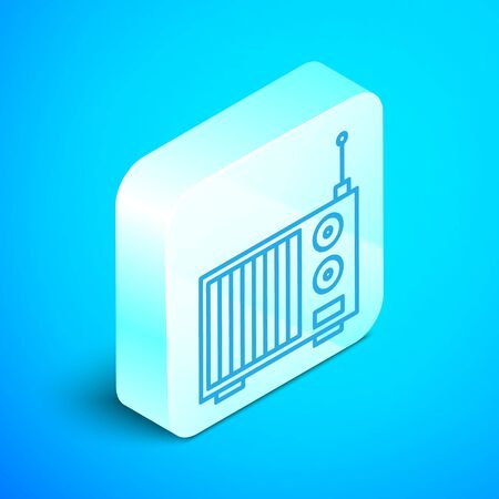 Isometric line Radio with antenna icon isolated on blue background. Silver square button. Vector Illustration Stock Illustratie