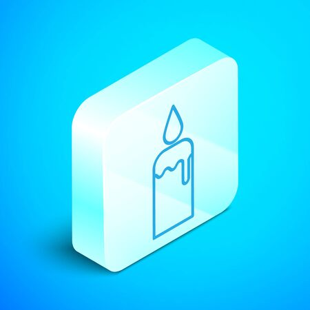 Isometric line Burning candle in candlestick icon isolated on blue background. Cylindrical candle stick with burning flame. Silver square button. Vector Illustration