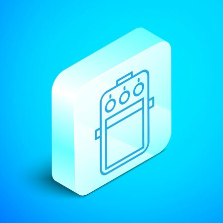 Isometric line Guitar pedal icon isolated on blue background. Musical equipment. Silver square button. Vector Illustration