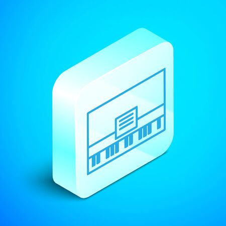 Isometric line Piano icon isolated on blue background. Musical instrument. Silver square button. Vector Illustration Ilustração