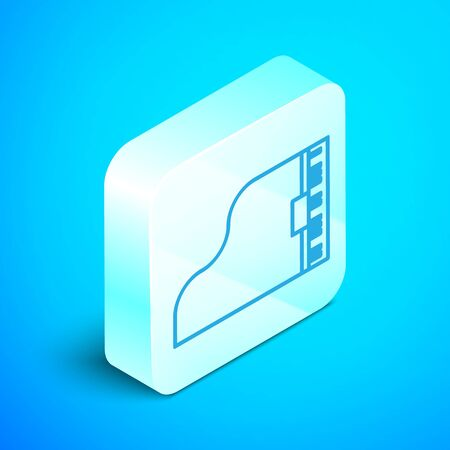 Isometric line Grand piano icon isolated on blue background. Musical instrument. Silver square button. Vector Illustration