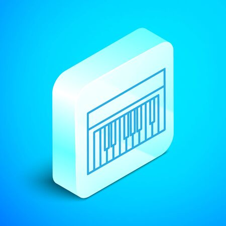 Isometric line Music synthesizer icon isolated on blue background. Electronic piano. Silver square button. Vector Illustration