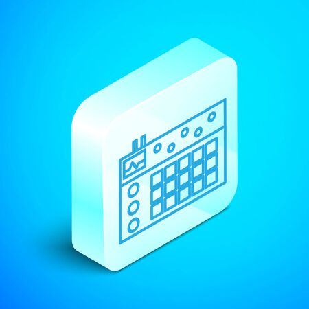 Isometric line Drum machine icon isolated on blue background. Musical equipment. Silver square button. Vector Illustration Ilustrace
