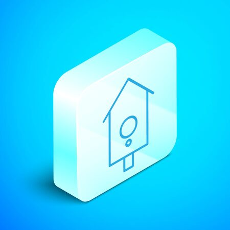 Isometric line Retro wall watch icon isolated on blue background. Cuckoo clock sign. Antique pendulum clock. Silver square button. Vector Illustration