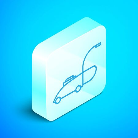 Isometric line Lawn mower icon isolated on blue background. Lawn mower cutting grass. Silver square button. Vector Illustration