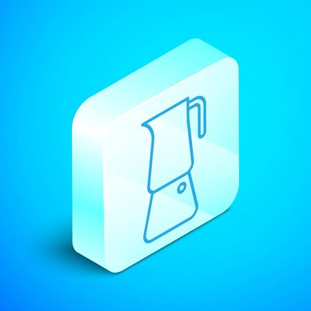 Isometric line Moka pot icon isolated on blue background. Coffee maker. Silver square button. Vector Illustration