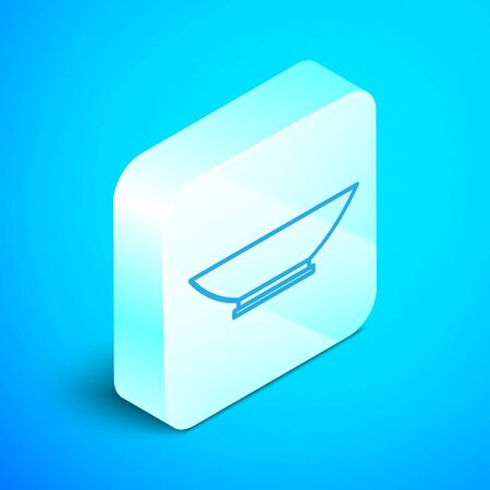 Isometric line Bowl icon isolated on blue background. Silver square button. Vector Illustration Illustration