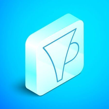Isometric line Funnel or filter icon isolated on blue background. Silver square button. Vector Illustration