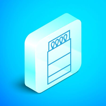 Isometric line Open matchbox and matches icon isolated on blue background. Silver square button. Vector Illustration