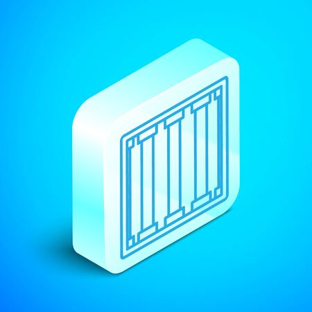 Isometric line Prison window icon isolated on blue background. Silver square button. Vector Illustration