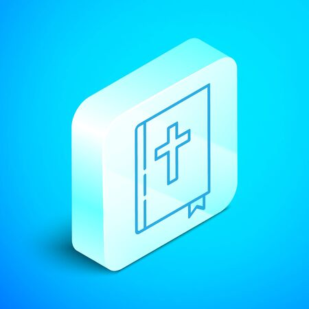 Isometric line Holy bible book icon isolated on blue background. Silver square button. Vector Illustration
