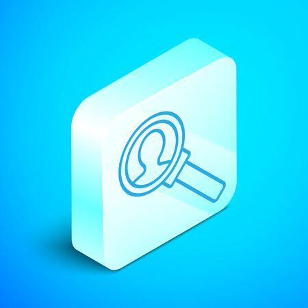 Isometric line Magnifying glass for search icon isolated on blue background. Recruitment or selection concept. Search for employees and job. Silver square button. Vector Illustration