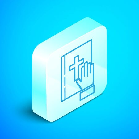 Isometric line Oath on the Holy Bible icon isolated on blue background. The procedure in court. Truth and truth. Promise before god. Silver square button. Vector Illustration