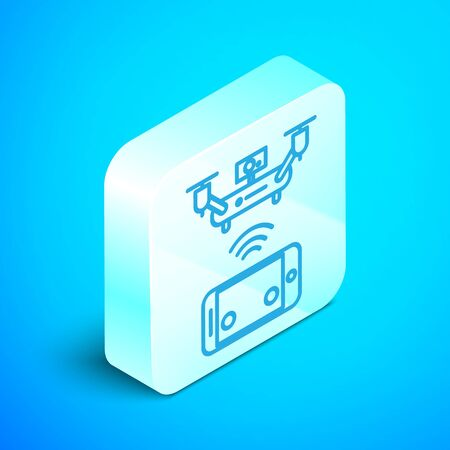Isometric line Remote aerial drone with a camera taking photography or video recording icon isolated on blue background. Silver square button. Vector Illustration
