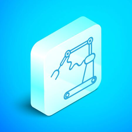 Isometric line Industrial machine robotic robot arm hand factory icon isolated on blue background. Industrial robot manipulator. Silver square button. Vector Illustration