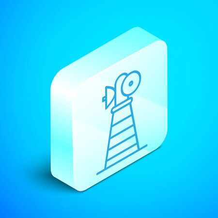 Isometric line Antenna icon isolated on blue background. Radio antenna wireless. Technology and network signal radio antenna. Silver square button. Vector Illustration