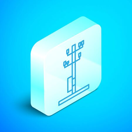 Isometric line Electric tower used to support an overhead power line icon isolated on blue background. High voltage power pole line. Silver square button. Vector Illustration Çizim