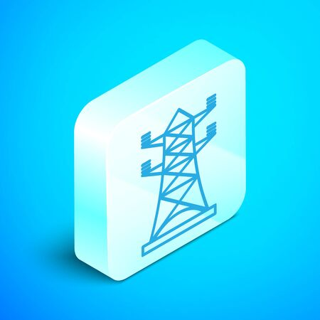 Isometric line Electric tower used to support an overhead power line icon isolated on blue background. High voltage power pole line. Silver square button. Vector Illustration Illustration