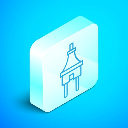 Isometric line Electric plug icon isolated on blue background. Concept of connection and disconnection of the electricity. Silver square button. Vector Illustration Illustration