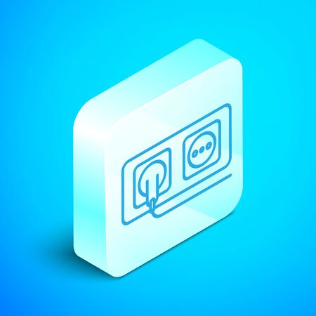 Isometric line Electrical outlet icon isolated on blue background. Power socket. Rosette symbol. Silver square button. Vector Illustration