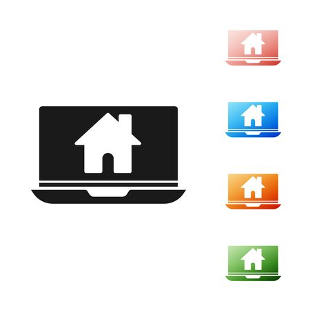 Black Laptop and smart home icon isolated on white background. Remote control. Set icons colorful. Vector Illustration