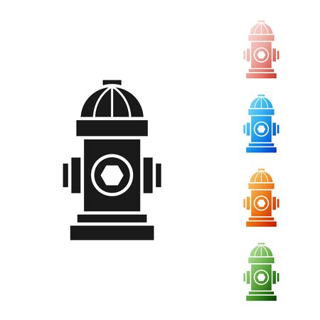 Black Fire hydrant icon isolated on white background. Set icons colorful. Vector Illustration  イラスト・ベクター素材