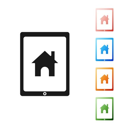 Black Tablet and smart home icon isolated on white background. Remote control. Set icons colorful. Vector Illustration Illustration